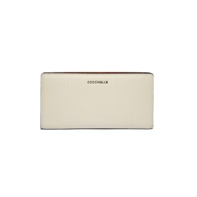COCCINELLE - Metallic Bicolor Portafoglio - Chalk/Tan
