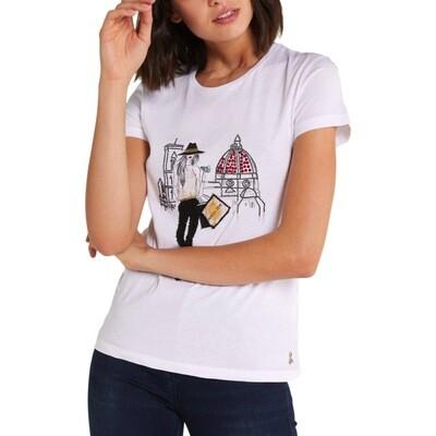 """PATRIZIA PEPE - T-shirt stampa """"City"""" Firenze - Bianco"""