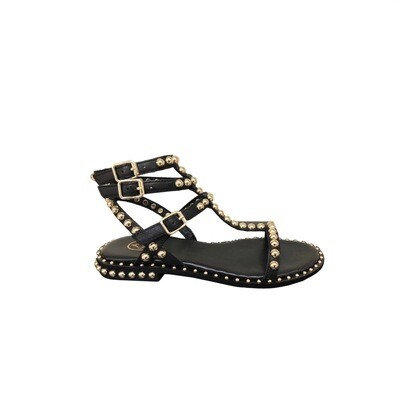 ASH - Play Sandalo con borchie - Black/Gold Studs