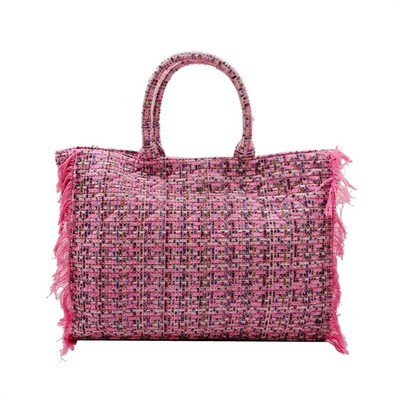 MIA BAG - Tote Bag Tweed Personalizzabile - Fuxia Multicolor