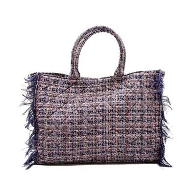 MIA BAG - Tote Bag Tweed Personalizzabile - Nero Multicolor