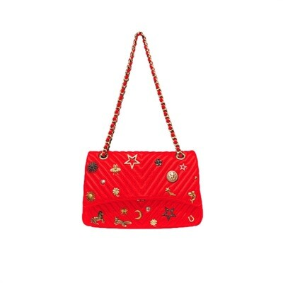 MIA BAG - Tracolla Media Studs Lux Personalizzabile - Rosso
