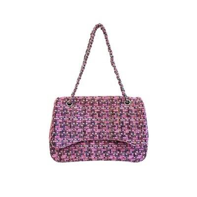 MIA BAG - Tracolla Tweed Personalizzabile - Fuxia Multicolor