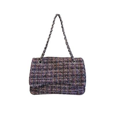MIA BAG - Tracolla Tweed Personalizzabile - Nero Multicolor
