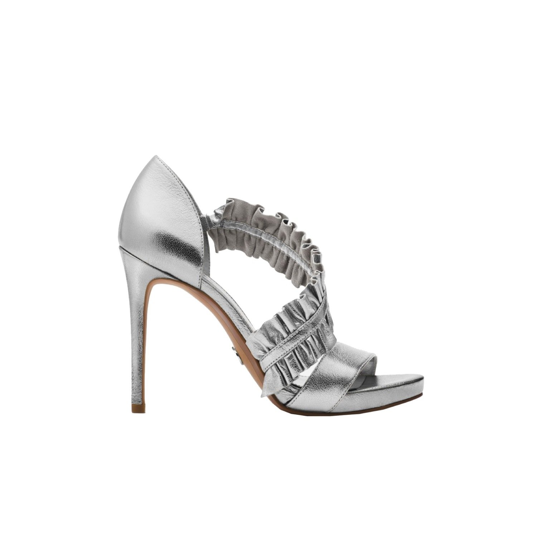 MICHAEL KORS - Bella sandalo pelle arricciata e metallizzata - Silver