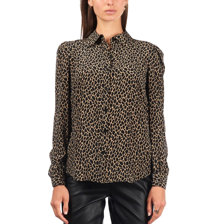 MICHAEL KORS - Camicia in seta stampa animalier - Dark Camel/Black