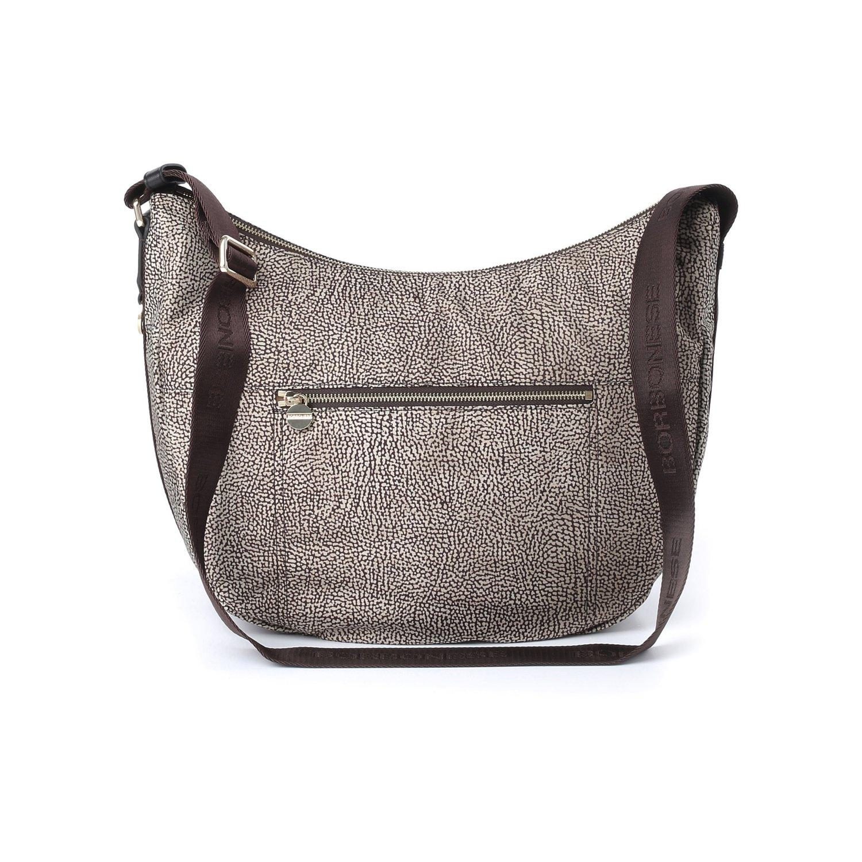 BORBONESE - Luna Bag Medium in Jet O.P. e pelle con zip - Classico/Marrone