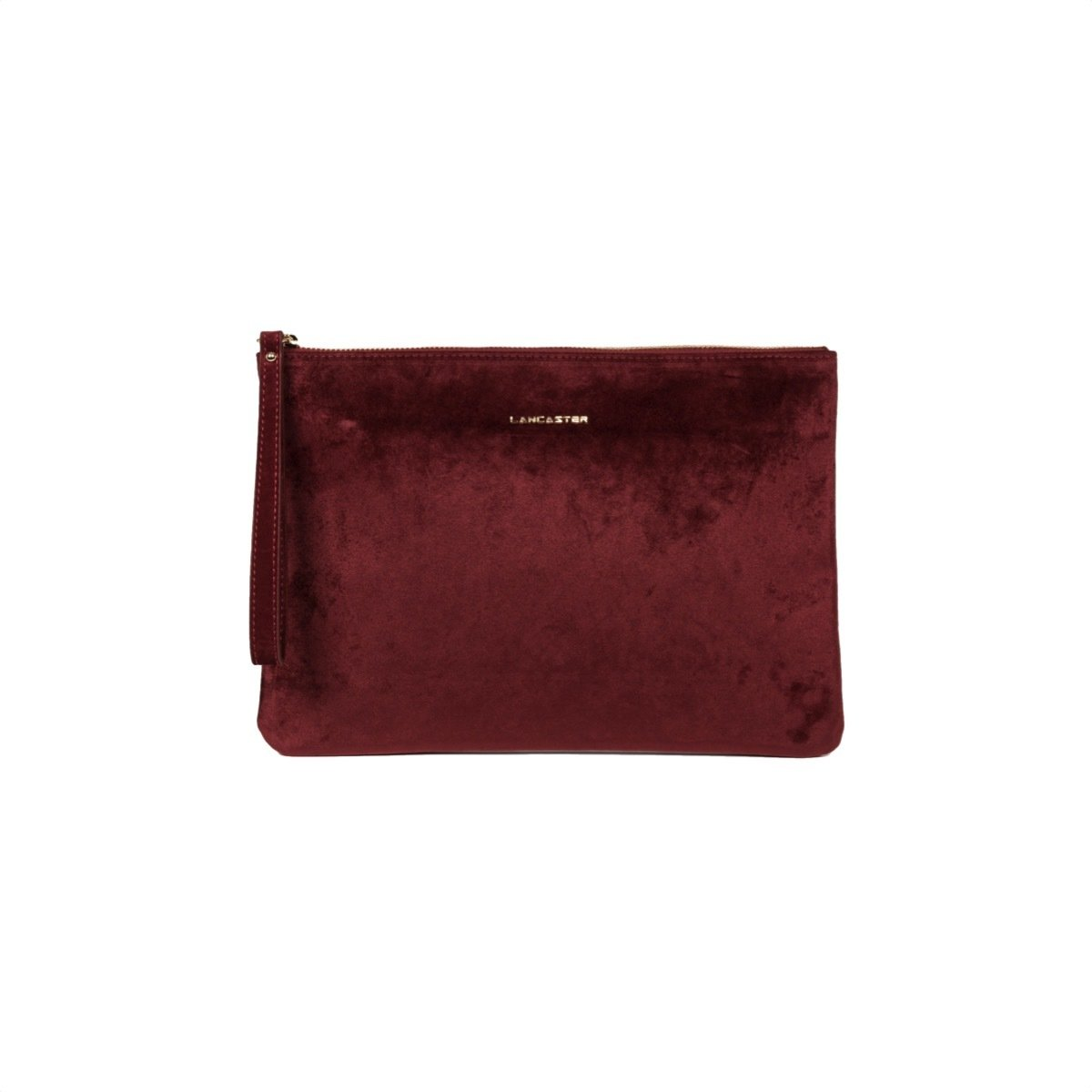 LANCASTER - Large Clutch Velvet - Bordeaux