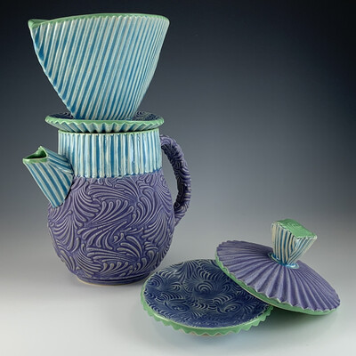 Coffee Pot and Pour-over in green, lake ice blue, and purple