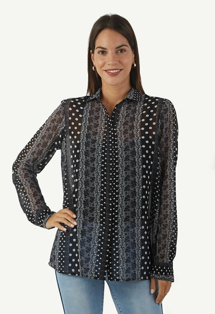 Blusa color negro con estampado