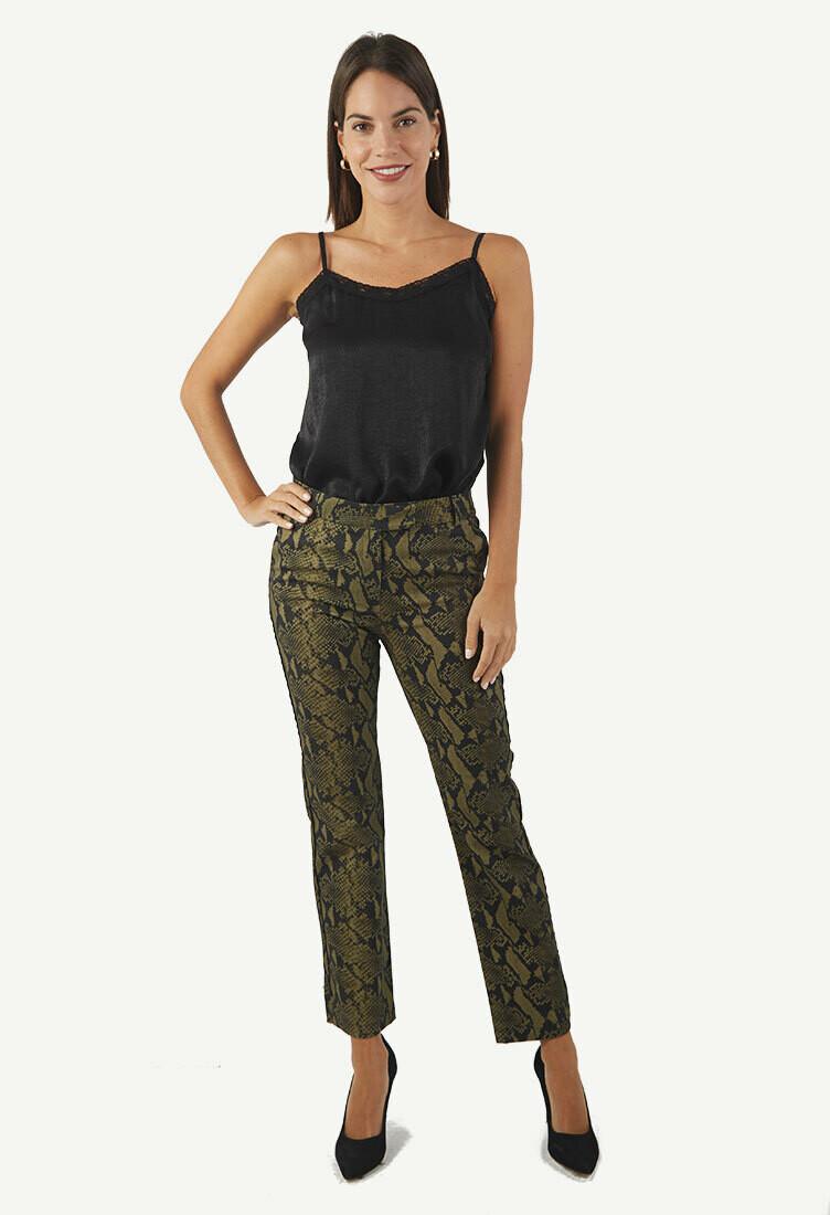 Pantalón verde estampado print