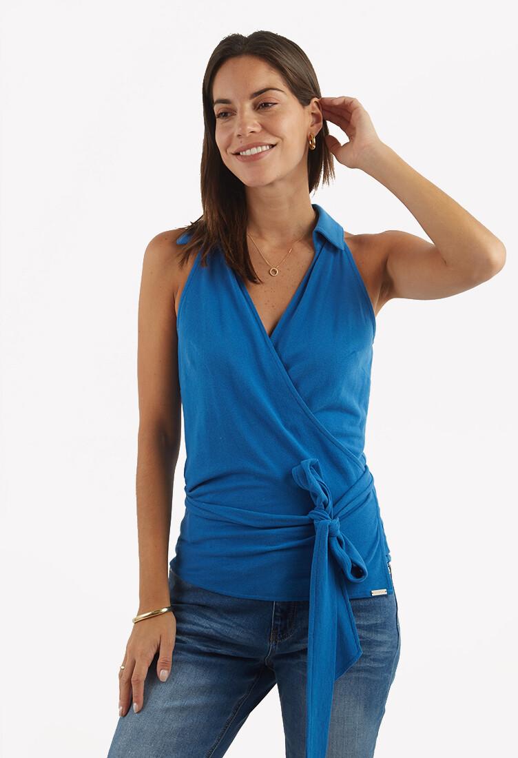 Blusa envolvente tipo camisa