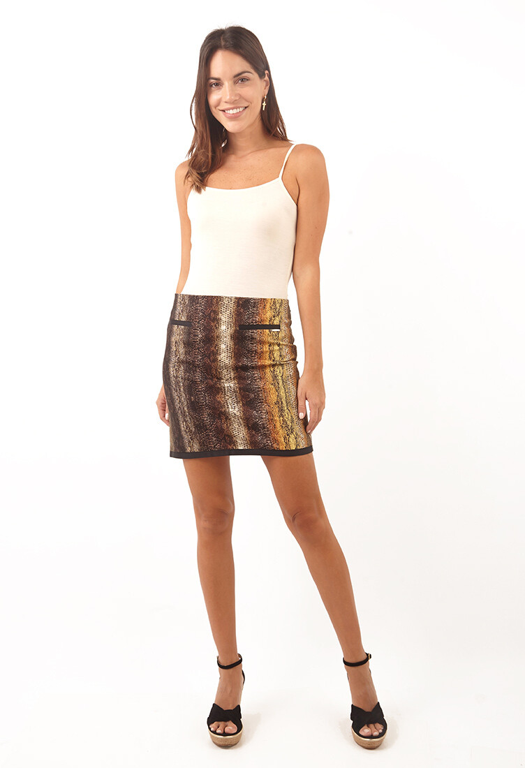 Falda animal print marron