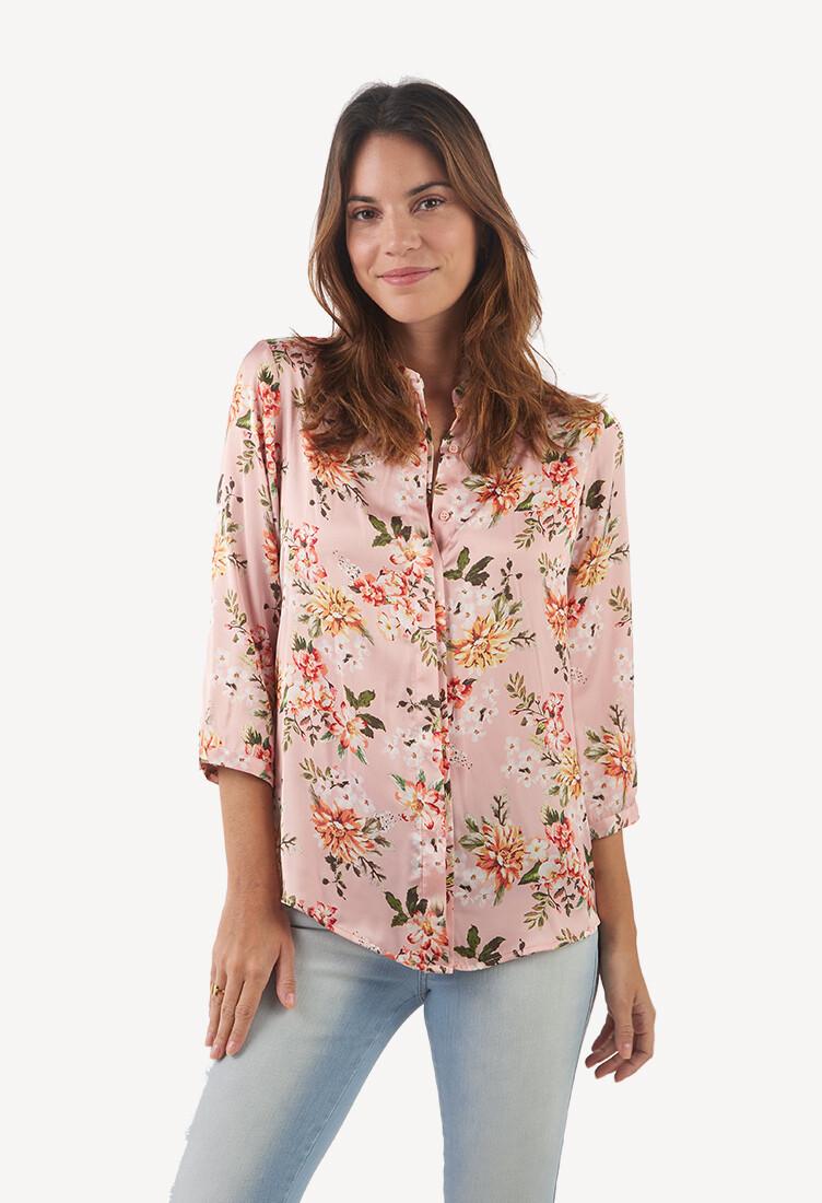 Blusa manga 3/4 cuello neru rosa floral