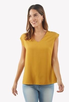 Blusa cuello en V color mostaza