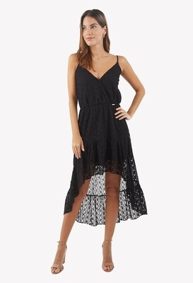 Vestido de encaje con tirantes color negro