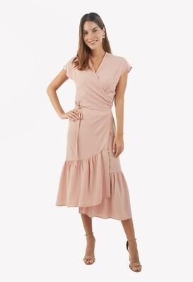 Vestido color nude con lazo