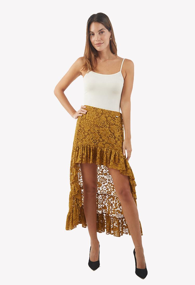 Falda color mostaza con encaje