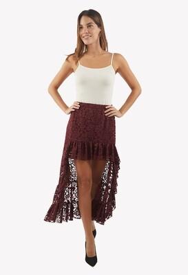 Falda color guinda con encaje