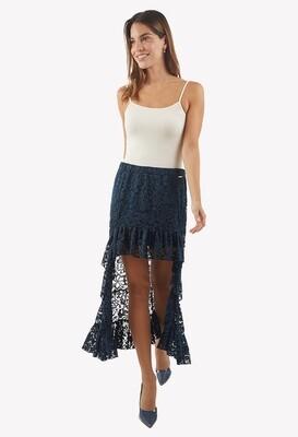 Falda color azul con encaje