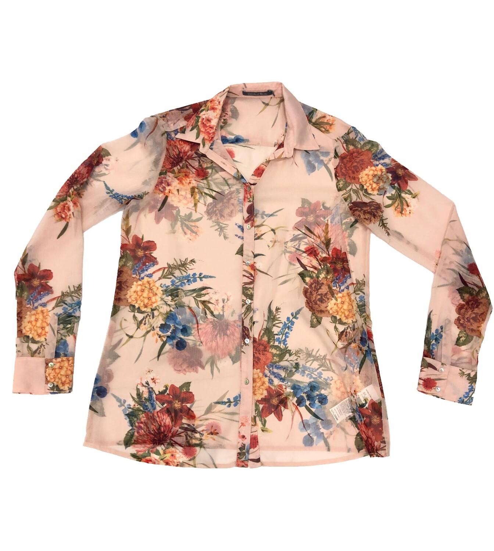 Blusa con estampado floral color crema