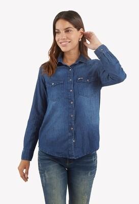 Blusa denim cuello estilo camisa