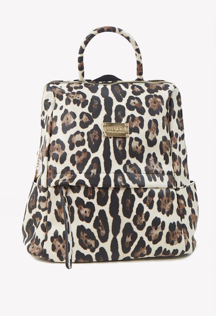 Cartera mochila estampado animal print color marrón