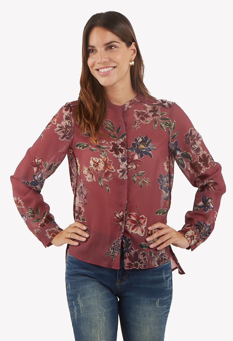 Blusa manga larga estampado floral color malva