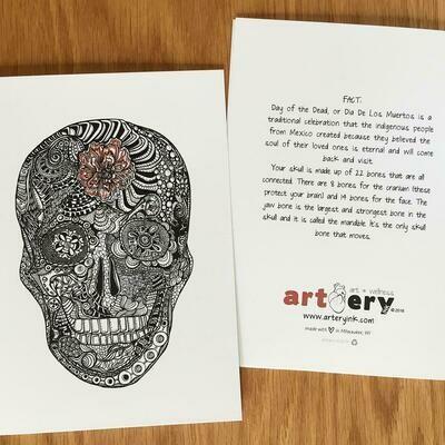 Dia De Los Muertos Skull Card