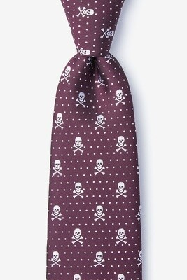 Skull and Polka Dot Tie (Burgundy)