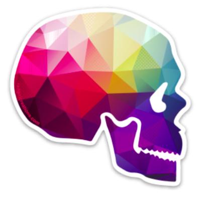 Geometricolor Skull Sticker