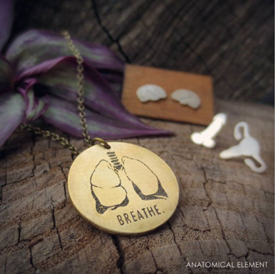 Anatomical Element BREATHE Necklace - Etched Brass Lungs