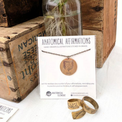 Anatomical Element TRUST Necklace - Etched Brass Intestines