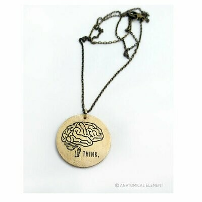 Anatomical Element THINK Necklace - Etched Brass Brain