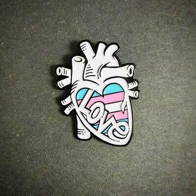 Anatomical Element Trans Flag Anatomical Heart Enamel Lapel Pin