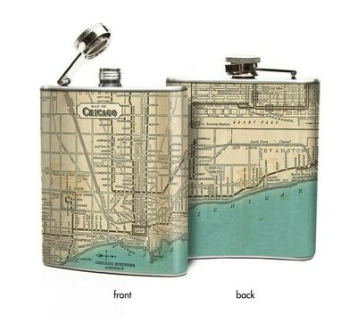 Chicago Map Hip Flask