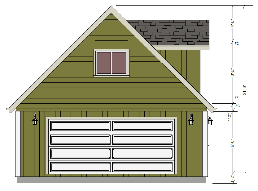 G527 24 x 24 x 8 Garage Plans with Loft and Dormers DWG and PDF – House Plans With Loft Over Garage