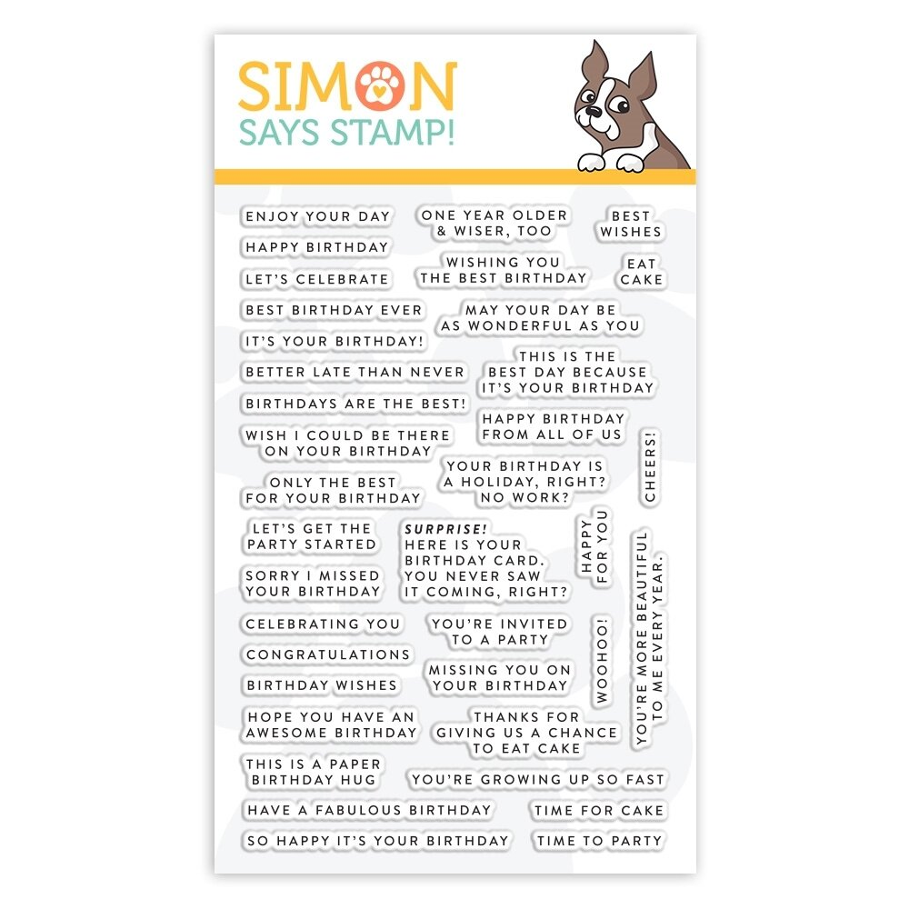 Simon Says Stamp TINY WORDS BIRTHDAY Clear Stamp Set