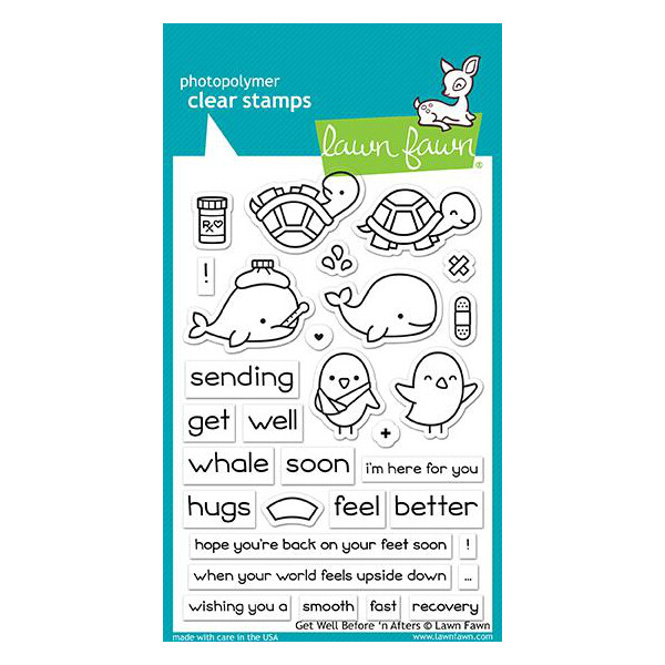 Lawn Fawn GET WELL BEFORE 'N AFTERS Clear Stamp Set