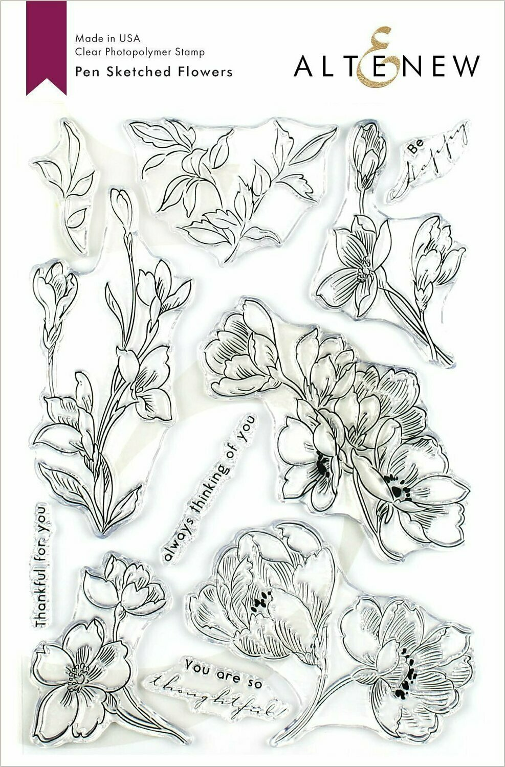 Altenew PEN SKETCHED FLOWERS Clear Stamp Set
