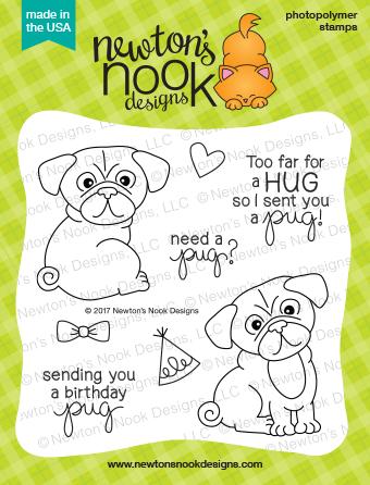 Newton's Nook PUG HUGS Clear Stamp Set