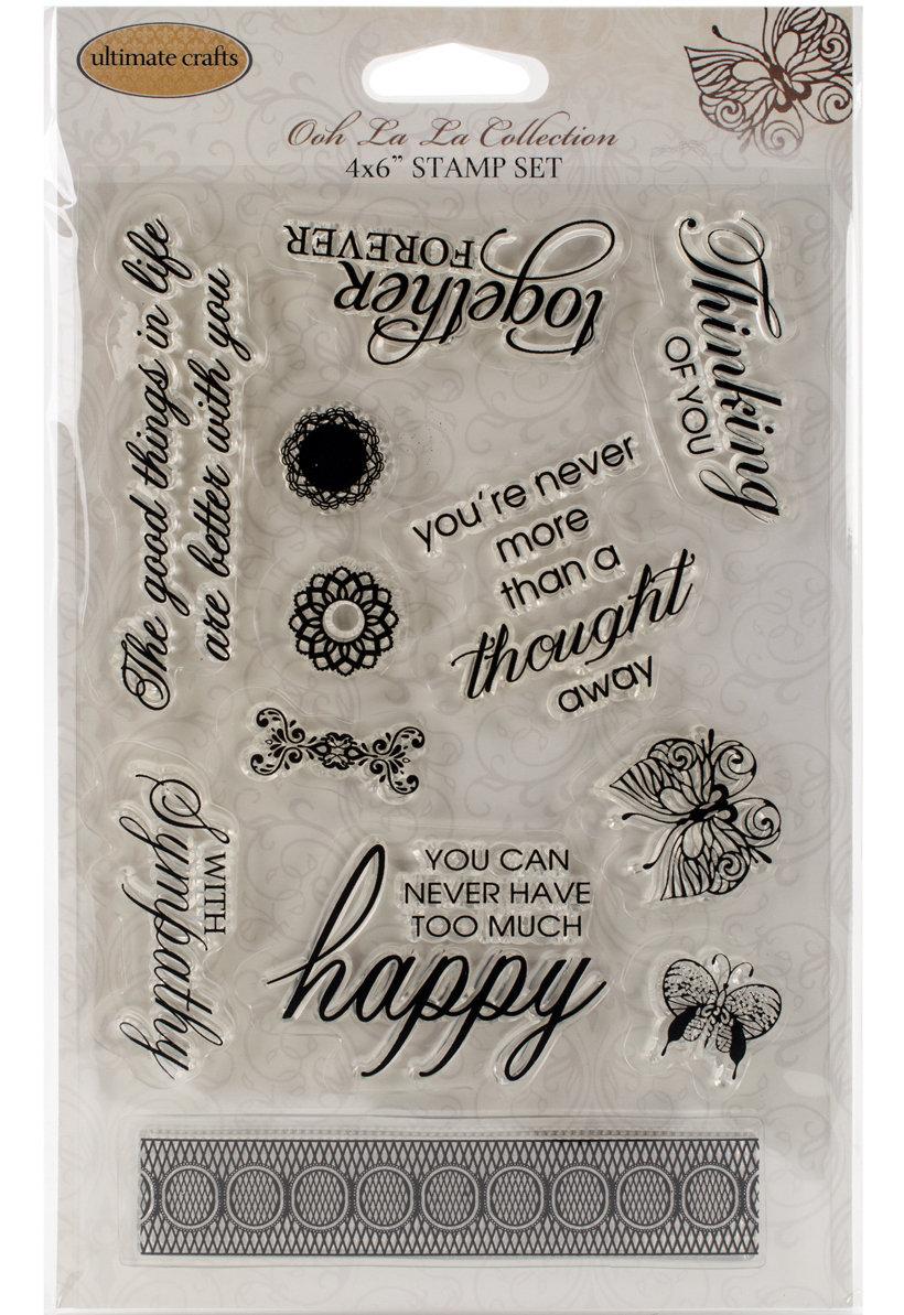 Ultimate Crafts HAPPY LIVES Clear Stamp Set