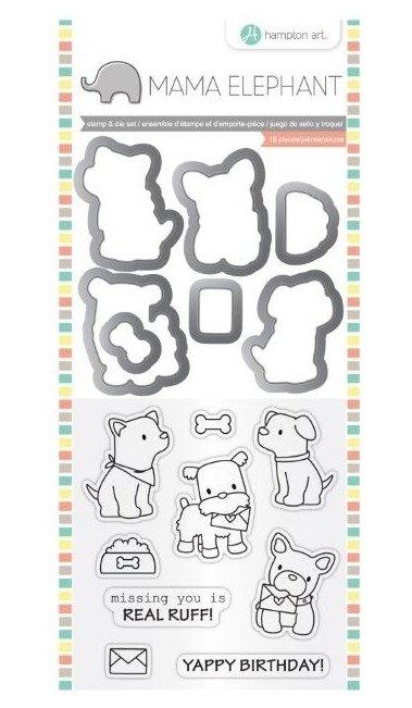 Hampton Art PUPPY PLAY Mama Elephant Clear Stamp & Die