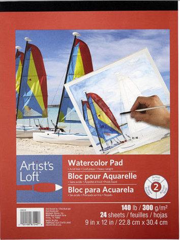 "Artist's Loft 9"" x 12"" Watercolor Paper Pad 300gsm"