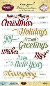 JustRite Extra Grand HOLIDAY SENTIMENTS Clear Stamp Set