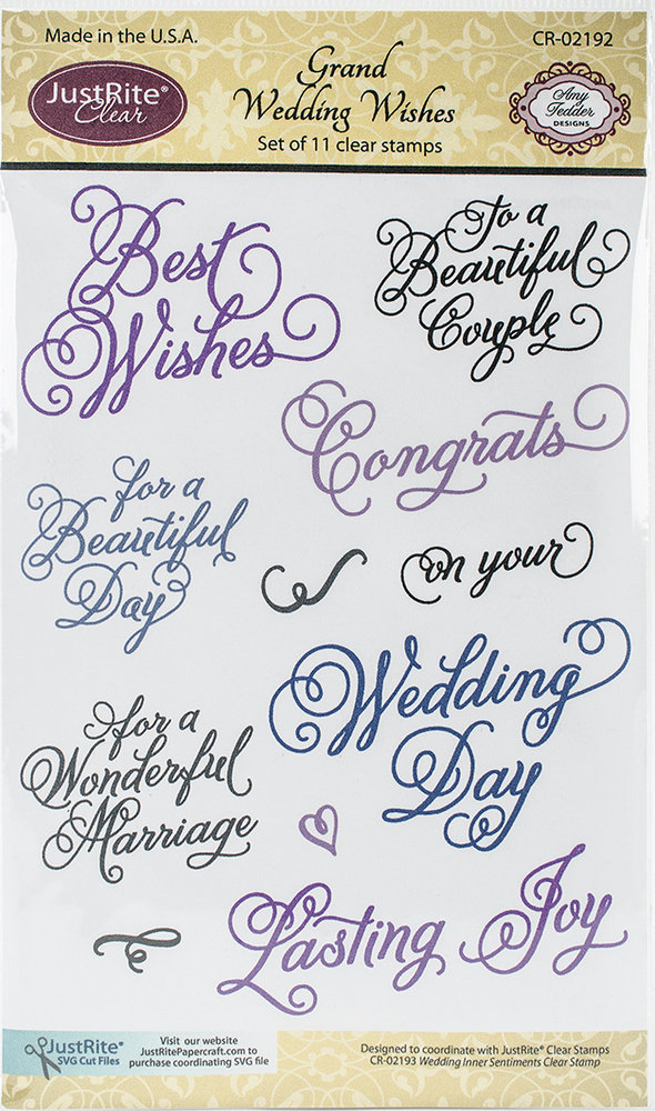 JustRite GRAND WEDDING WISHES Clear Stamp Set
