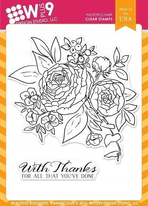 Wplus9 BEAUTIFUL BOUQUET RANUNCULUS Clear Stamp Set