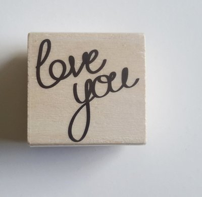HANDWRITTEN LOVE YOU Wood Mounted Rubber Stamp