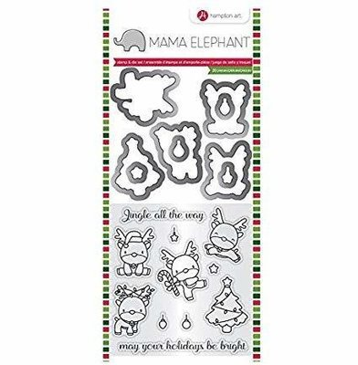 Hampton Art REINDEER FUN Mama Elephant Stamp & Die Set