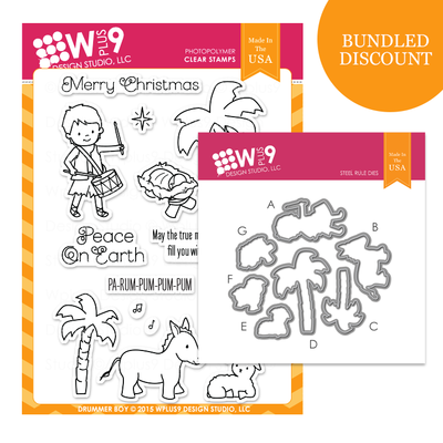 WPlus9 DRUMMER BOY Clear Stamp & Coordinating Die Set